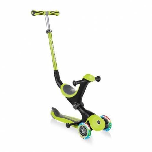 Globber GO-UP Deluxe Lights / Lime green - Skrejriteņi ar trīs riteņiem