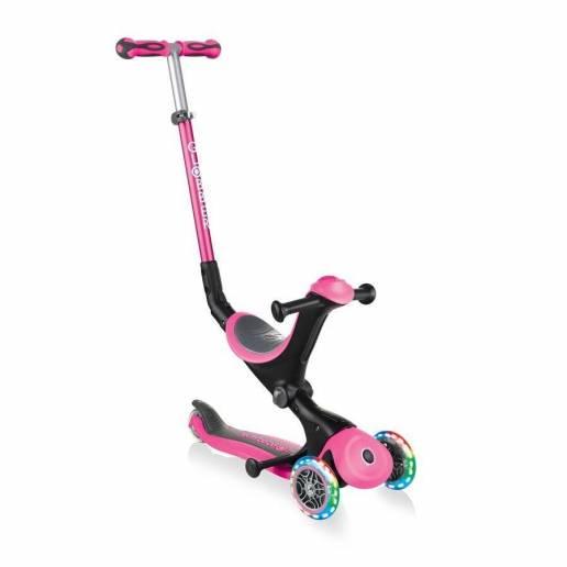 Globber GO-UP Deluxe Lights / Deep pink - Skrejriteņi ar trīs riteņiem