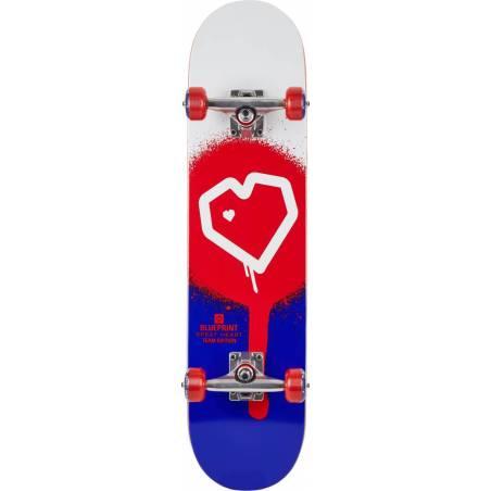 Blueprint Spray Heart V2 Blue Red 8.0 - Skeitbordi
