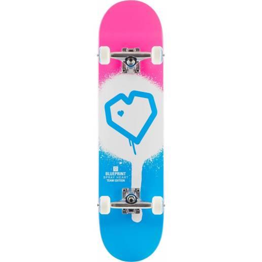"Blueprint Spray Heart V2 Pink Blue 7.75"" - Skeitbordi"