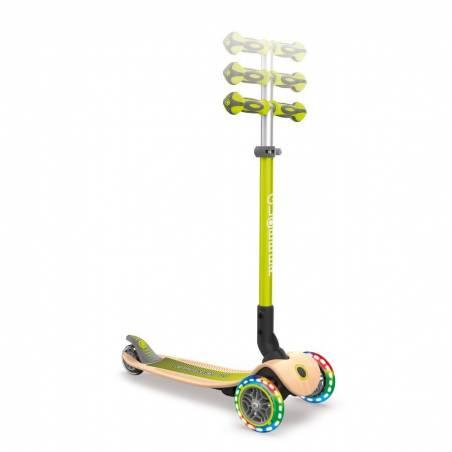 Globber Primo Foldable Wood Lights / Lime Green - Skrejriteņi ar trīs riteņiem