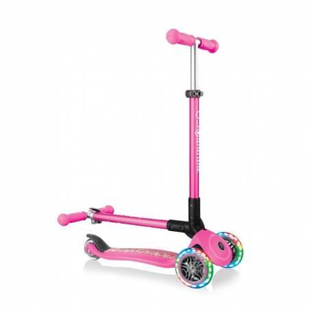 Paspirtukas Globber Primo Foldable Lights / Neon Pink Flowers nuo Globber