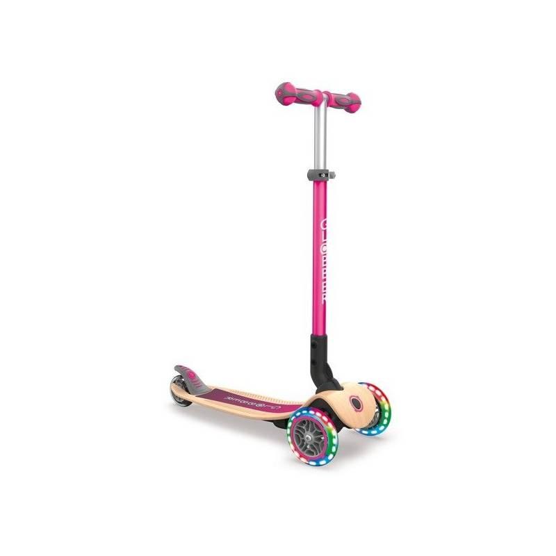 Paspirtukas Globber Primo Foldable Wood Lights / Deep pink - Skrejriteņi ar trīs riteņiem